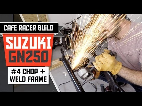 """In Part 4 of our Suzuki GN 250 Cafe Racer Build, we chop and weld the hoop. We also clean up and remove the tabs from the """"triangle"""". SUBSCRIBE FOR ..."""