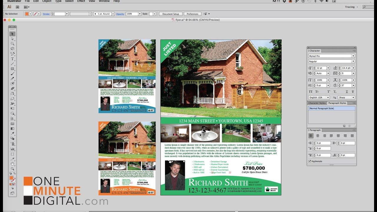 design a real estate flyer in illustrator from start to finish youtube