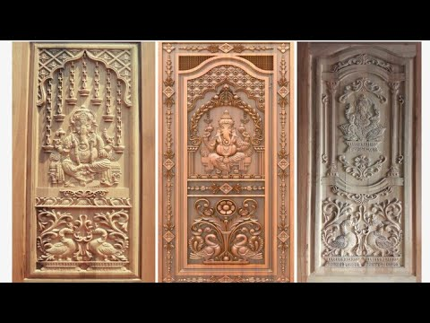 Latest Top Best Teak Wood Ganesh Main Door Design Ideas