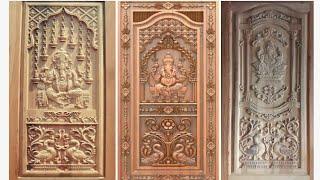 Latest best teak wood Ganesh main door designs,God Wood door designs