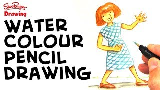 How to draw cartoon style with watercolor pencils