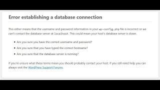 🚩 Ошибка установки соединения с базой данных
