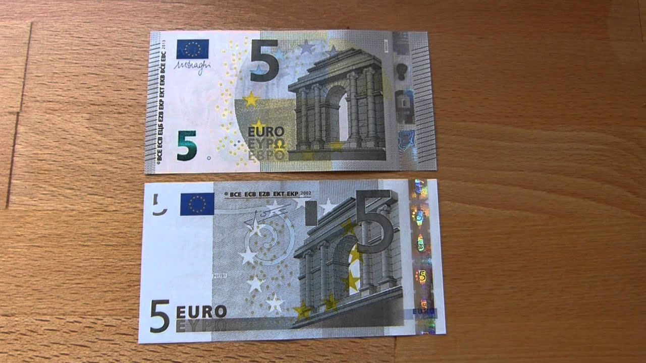 new 5 euro bill compared to the old one youtube. Black Bedroom Furniture Sets. Home Design Ideas