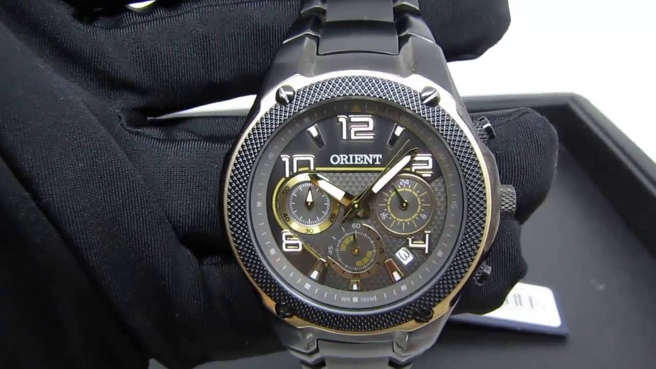 e84b66e4dc6 Relógio ORIENT Masculino MPSSC004 Preto e Dourado - Detalhes - YouTube