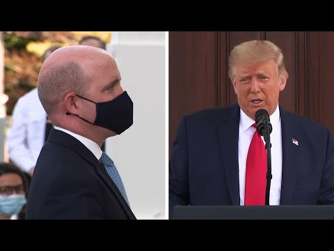 Donald Trump asks reporter to take off face mask during White House briefing