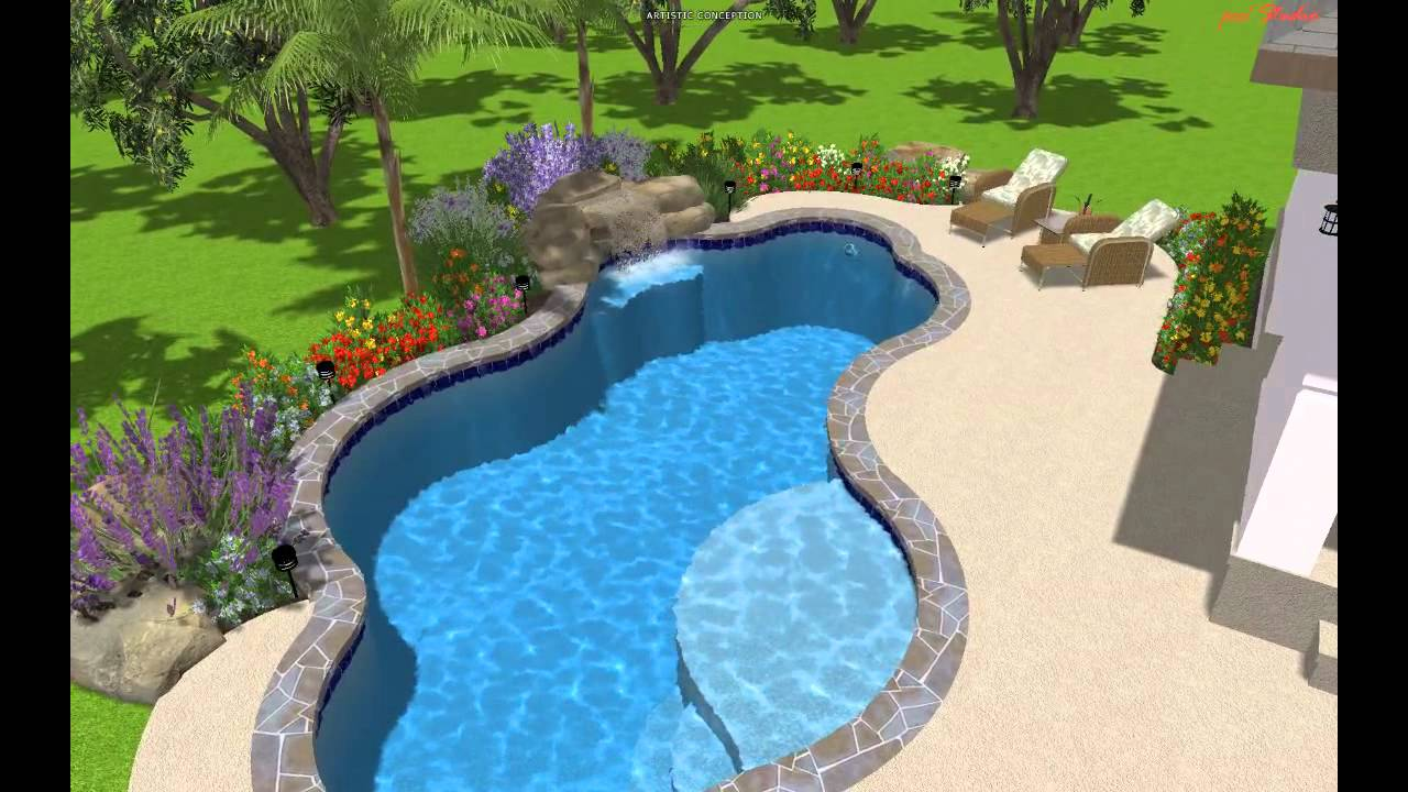 3d rendering freeform pool texas pools patios youtube for Pool design 3d