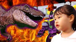 터닝메카드W!! 거대 공룡 티라노사우루스를 물리쳐라!  그리핑크스 car toy VS dinosaur Stopmotion LimeTube & Toy 라임튜브