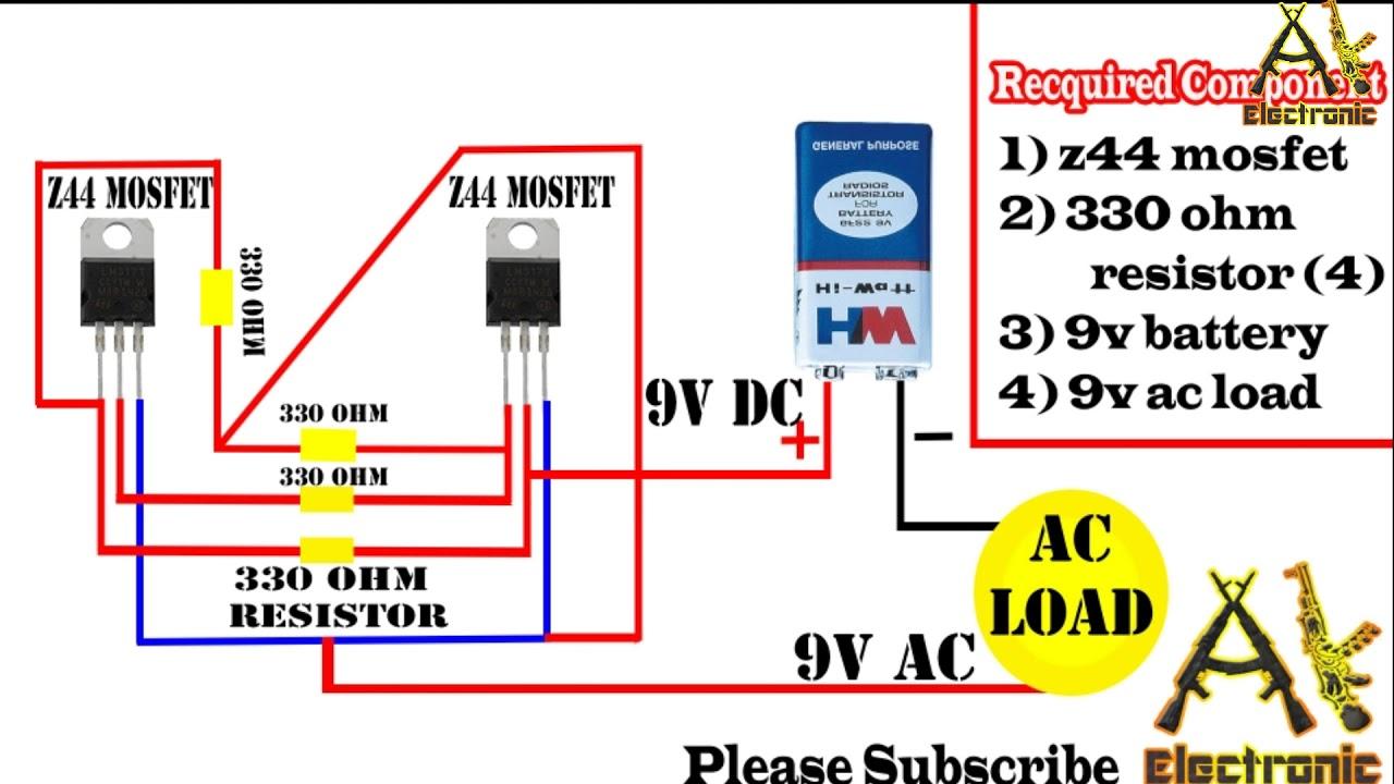 dc to ac inverter circuit using z44 mosfet youtubedc to ac inverter circuit using z44 mosfet