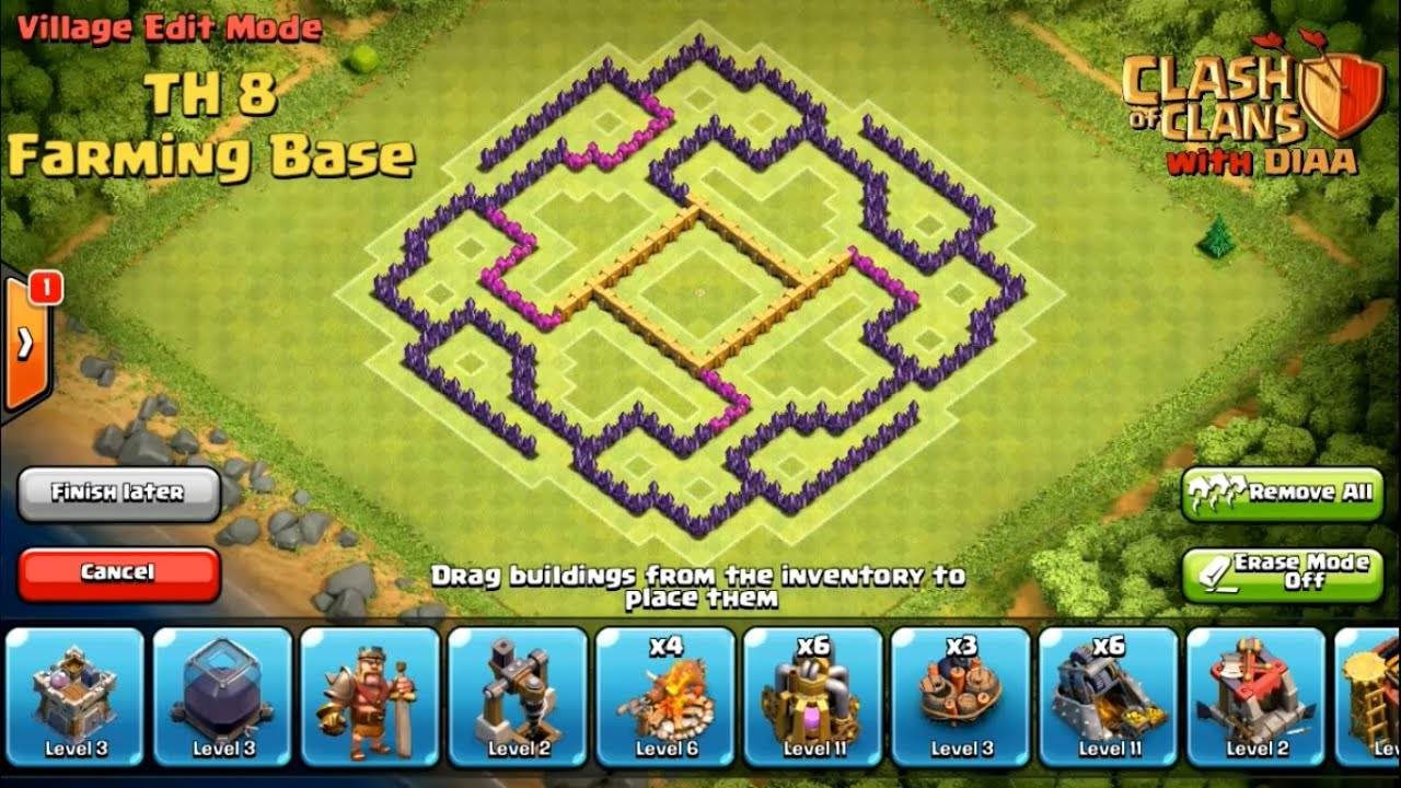 Clans l the unbeatable th8 farming amp resource protector base youtube