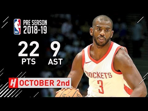 Chris Paul Full Highlights Rockets vs Grizzlies 2018.10.02 - 22 Pts, 9 Ast, 5 Steals!