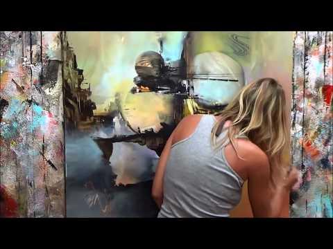 Démonstration de peinture abstraite (9) Elisabeth - Toile Origine