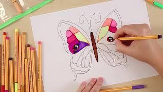 تعلم رسم الفراشة بأقلام ستابيلو بوينت 88