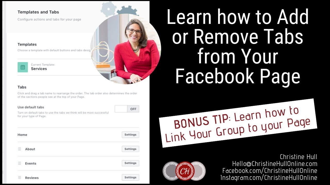 How to Add or Remove Tabs from Your Facebook Business Page  & Link Your Group