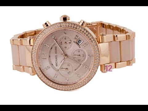 0d432aab463a MK5896 Chronograph Parker Blush and Rose Gold Tone Watch - YouTube