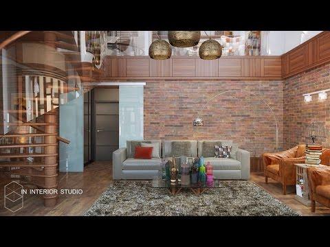 Дизайн интерьера. Тёплый лофт. Проект двухуровневой квартиры Санкт-Петербург. Дизайн интерьера СПб.