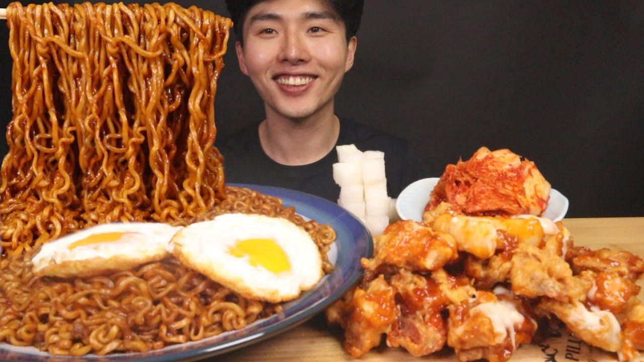 불닭게티에 처갓집 슈프림양념치킨 후라이까지먹방 ♥ BULDAK-GETTI spicy chicken black bean noodles CHICKEN MUKBANG