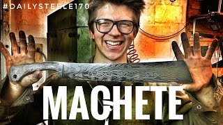 One of Alec Steele's most viewed videos: MAKING A MACHETE!!! Forged Damascus Steel! + Cutting Tests!