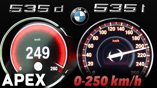 2017 BMW 535i vs. 535d - Acceleration Sound 0-100, 0-250 km/h | APEX