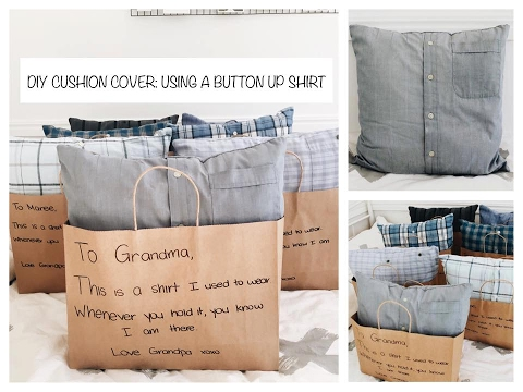 DIY CUSHION COVER USING A BUTTON UP SHIRT Cassidy Dillon YouTube Unique Button Up Shirt Pillow Covers