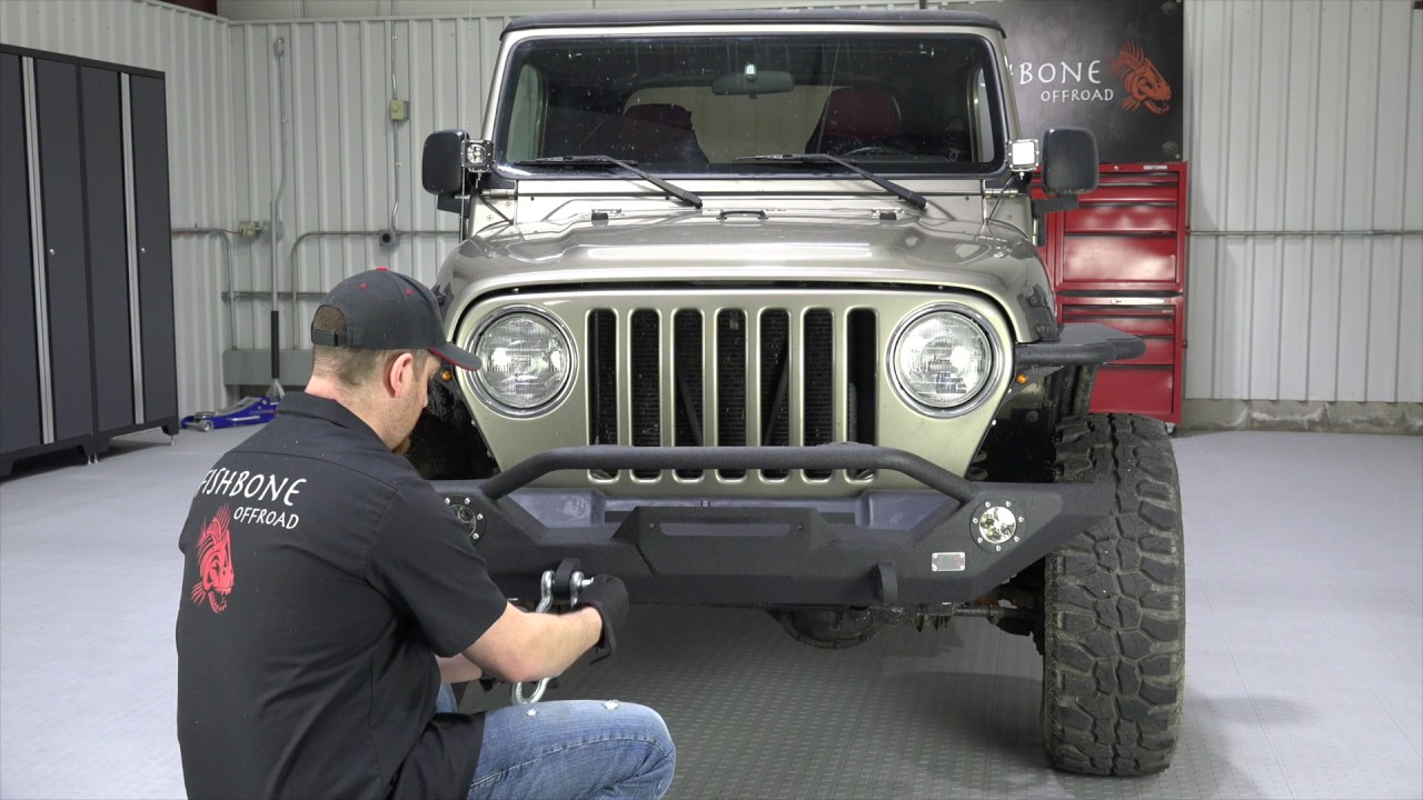 FB22016 TJ Wrangler Front Bumper With LEDs Installation Guide