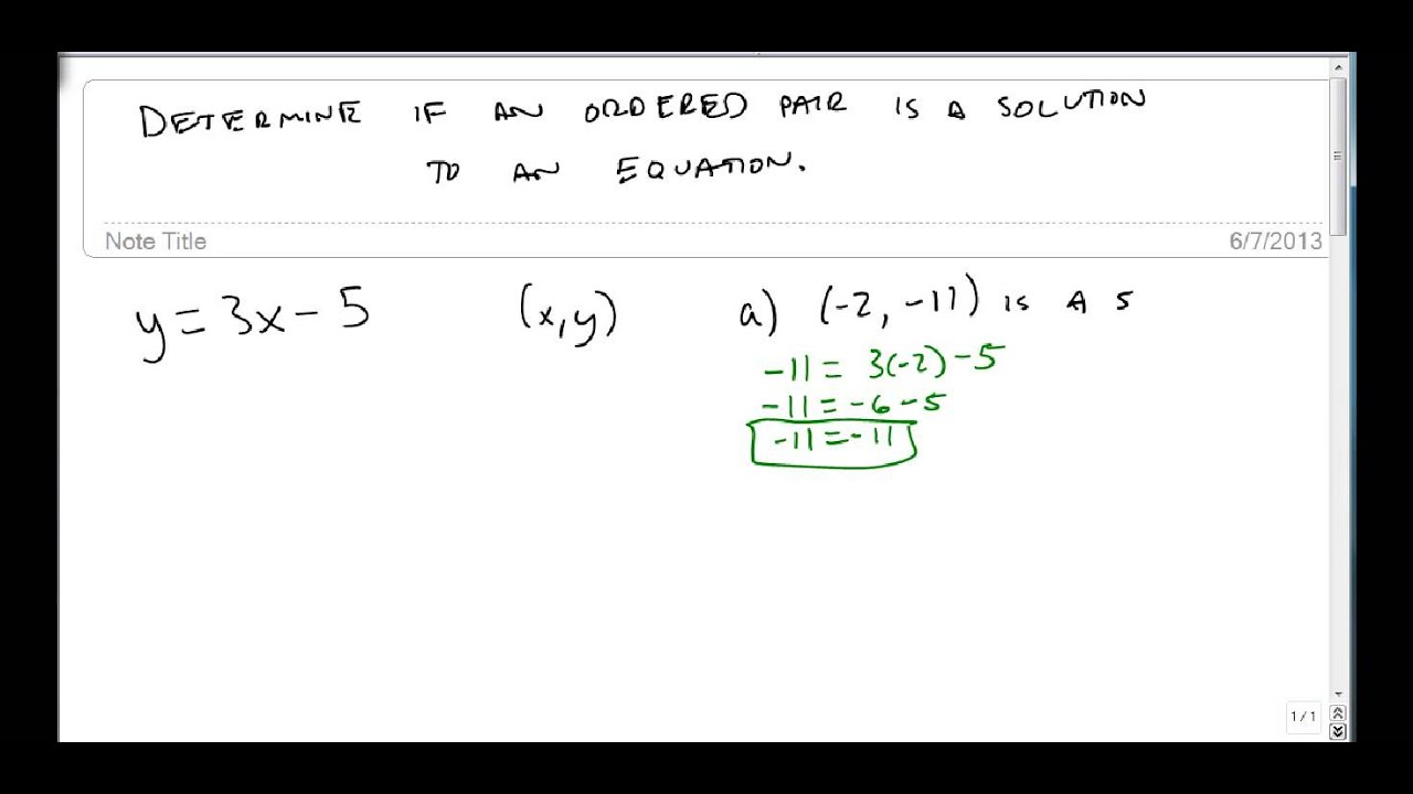 Determine Whether an Ordered Pair is a Solution to an Equation ...