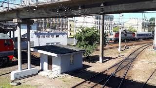 Электровоз ЭП20 идет на разгон с поездом Невский Экспрессом