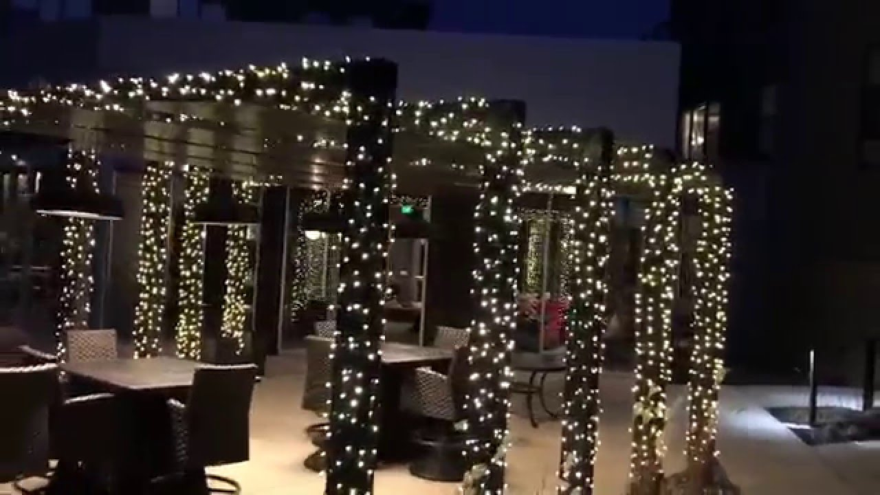 Commercial Business Christmas Light Installation At Pergola St Paul Mn Roof To Deck Decoration