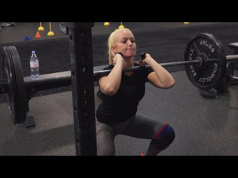 NXT's female Superstars master front squats at the WWE Performance Center