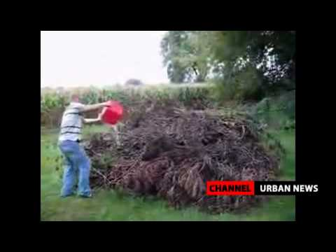 FAIL: Idiot Uses Gasoline To Burn Some Branches In His Backyard!