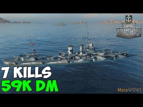 World Of WarShips | Farragut | 7 KILLS | 59K Damage -  Replay Gameplay 4K 60 Fps