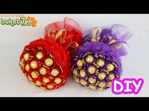 Букет из конфет ферреро роше органзе ☆ Сладкий подарок своими руками ☆ Diy Ferrero Rocher