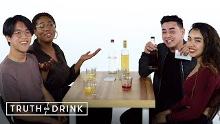 Best Friends Go On a Double Blind Date (Liza, Brandon, Jared, & Inina) | Truth or Drink | Cut