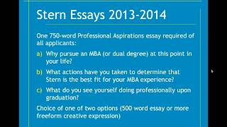 Stern School of Business MBA essay analysis and tips