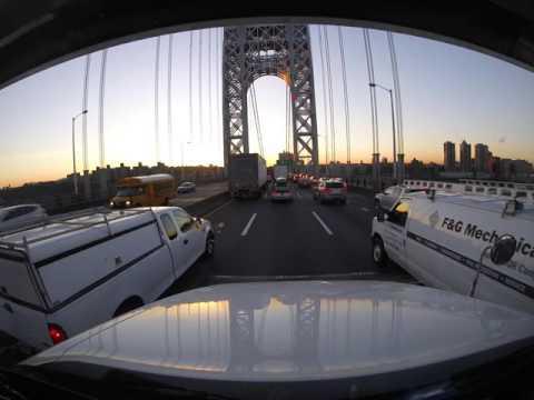 Crossing George Washington Bridge at morning Rush hour.