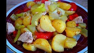 Курица в казане с овощами. Овощное рагу.