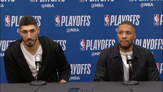 Damian Lillard & Enes Kanter Postgame Interview - Game 1 | Blazers vs Nuggets | 2019 NBA Playoffs
