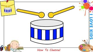 How to draw a drum EASY step by step for kids, beginners, children 2