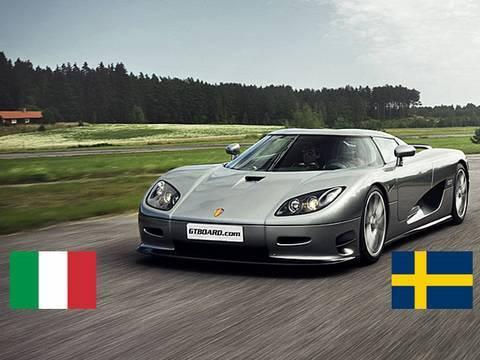 HD:Koenigsegg CCR vs Ferrari Enzopowered 599 GTB F1 x 2 races