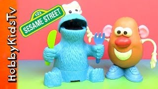 Cookie Monster Eats Mr. Potato Heads Nose Eyes Ears+Toy Story Woody Buzz by HobbyKidsTv