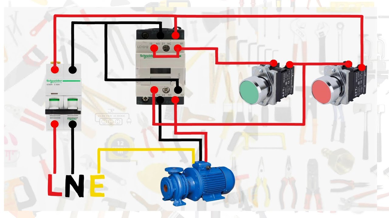 Single Phase Motor Connection With Magnetic Contactor Wiring Diagram