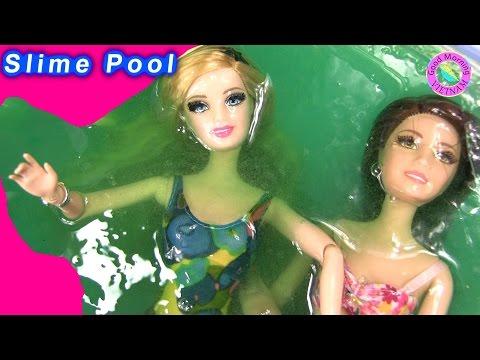 Cuộc Sống Barbie & Ken (Tập 40) Barbie ,Tearsa Tắm Chất Nhờn Ma Quái Slime - Barbie Slime Pool