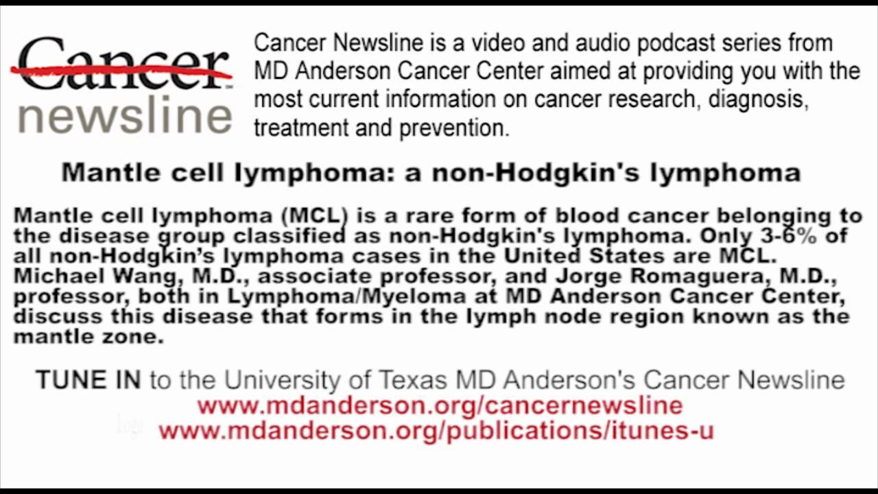 Mantle cell lymphoma: a non-Hodgkin's lymphoma - YouTube