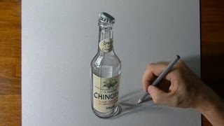 Drawing Time Lapse: an empty bottle of Chinotto - hyperrealism art