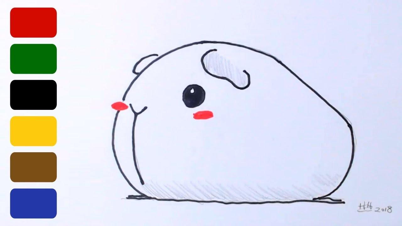 How To Draw A Guinea Pig Line Art Youtube