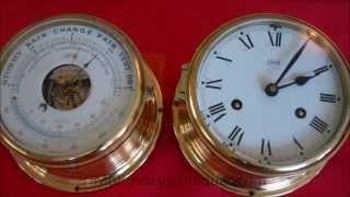 Schatz Nautical barometer and clock