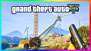 GTA 5 - CRAZY WIND TURBINE BUG! How To Knock Over Windmills In GTA Online! (GTA 5)