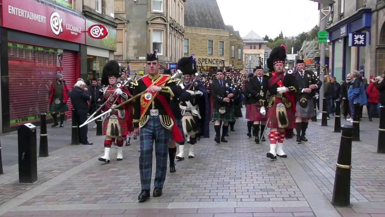 Download Massed Pipe Bands parade through Inverness City centre for Crocus Group event April 2017