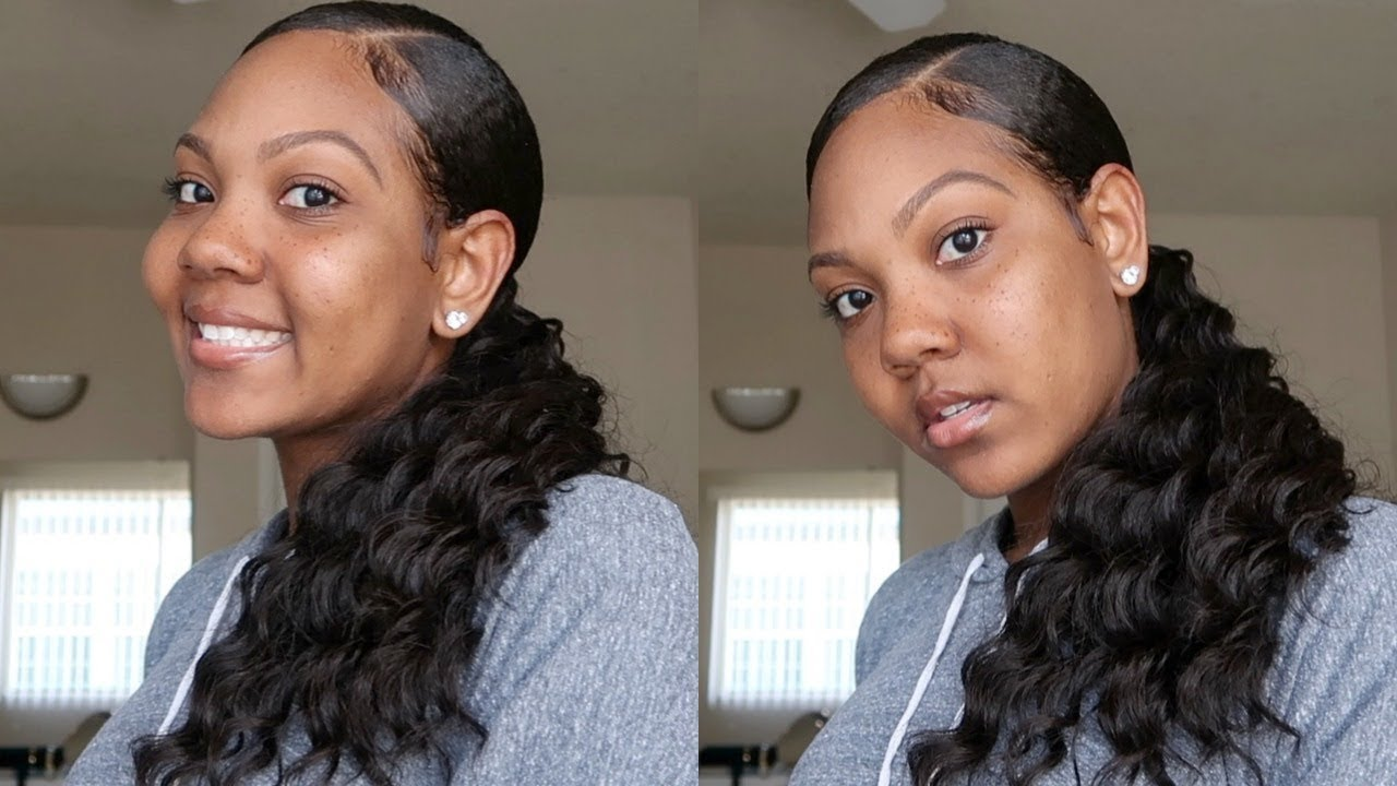 SLEEK PONYTAIL W/ WEAVE ON NATURAL HAIR