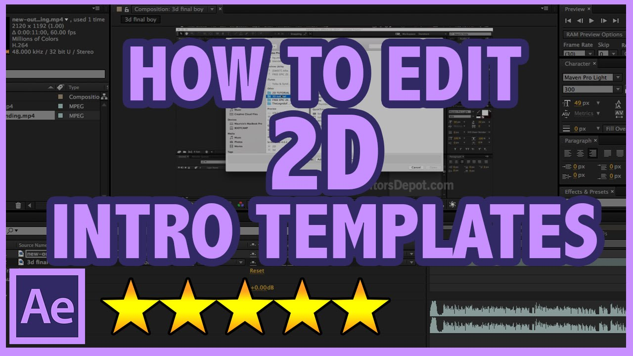 how to edit after effects 2d intro templates full tutorial youtube. Black Bedroom Furniture Sets. Home Design Ideas