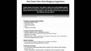 Real Estate Video Blogging Vlogging Niche Ideas
